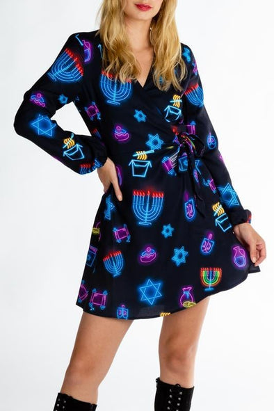 Midrash Manicures Dresses The Latke'd & Loaded Neon Hanukkah Wrap Dress