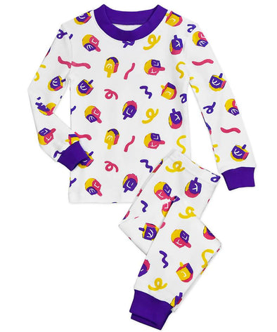 Sara's Prints Pajamas Colorful Dreidels Hanukkah Long John Pajamas - Kids Unisex