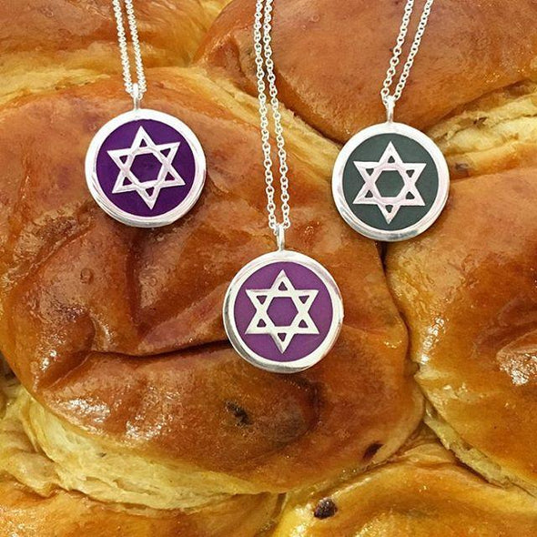 Large Star of David Color Pendant Necklace - Many Colors