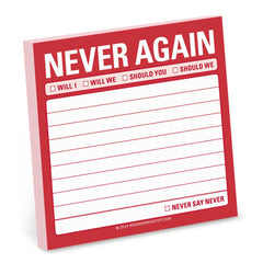Never Again Sticky Notes by Knock Knock - ModernTribe