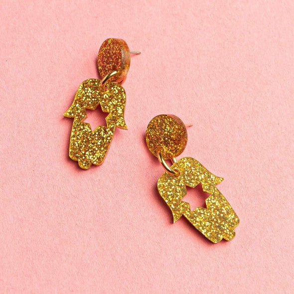 Ariel Tidhar Earrings Gold Mimi Hamsa Earrings - Gold Glitter