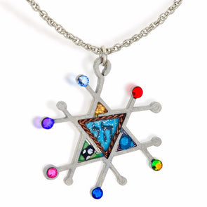 Full Of Life Seeka Modern Judaic Star & Chai Necklace