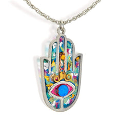 Seeka Handpainted Colorful Hamsa Necklace by Seeka - ModernTribe - 1