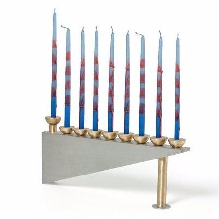 Modern Geometric Pewter Menorah by Joy Stember