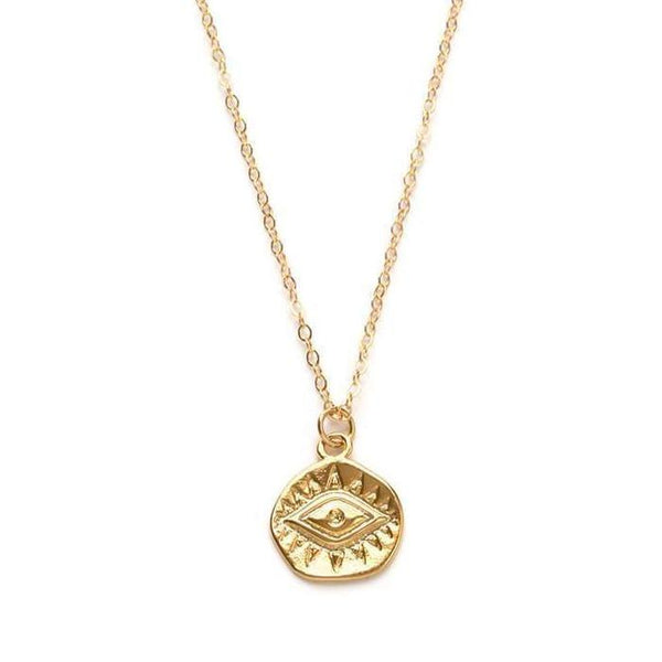 Stitch and Stone Necklaces Gold Gold Evil Eye Coin Necklace