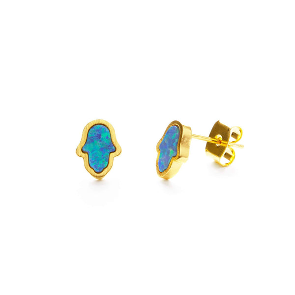 Hamsa Blue and Gold Opal Studs