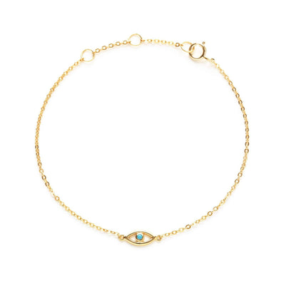Gold and Turquoise Evil Eye Bracelet