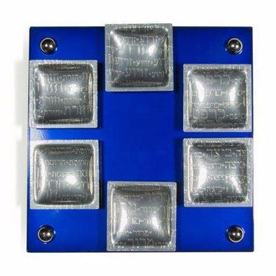Blue Magnetic Seder Plate with Square Cups by Joy Stember