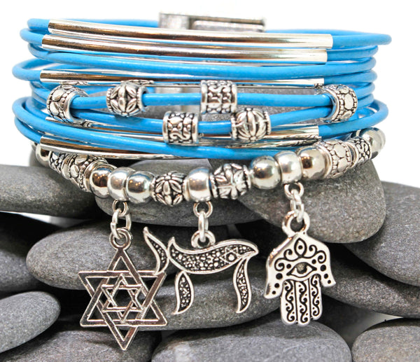 My Tribe by Sea Ranch Jewelry Bracelets Star of David, Chai and Hamsa Charm Bracelet - Sky Blue