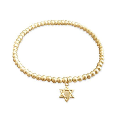 Gold Beaded Bracelet with Star of David