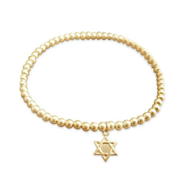 Gold Beaded Bracelet with Star of David - ModernTribe