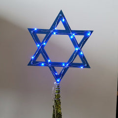 Light-Up Star of David Tree Topper - Blue