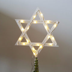 Light-Up Star of David Tree Topper - White