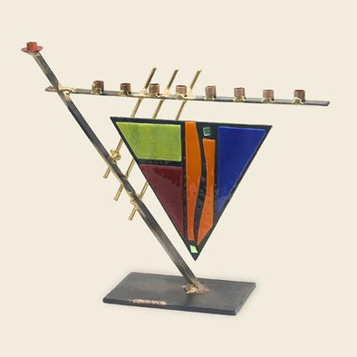 Triangular Art Deco Menorah by Gary Rosenthal