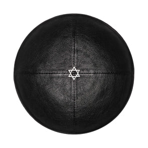 Black Leather Star of David Kippah