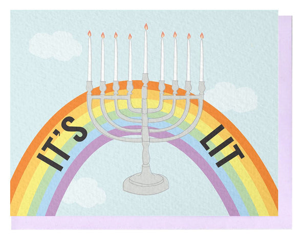 Let's Get Lit Rainbow Hanukkah Card, Box of 6