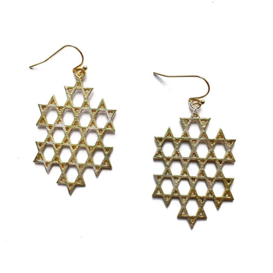 Stitch and Stone Earrings Gold Star of David Dangle Earrings