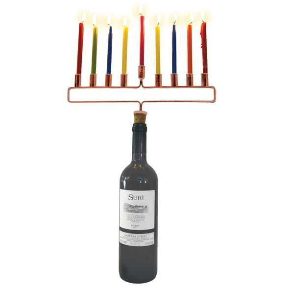 Copper Cork Menorah - For Delivery After First Night by Decor Craft - ModernTribe - 2