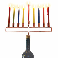 Copper Cork Menorah - For Delivery After First Night by Decor Craft - ModernTribe - 1