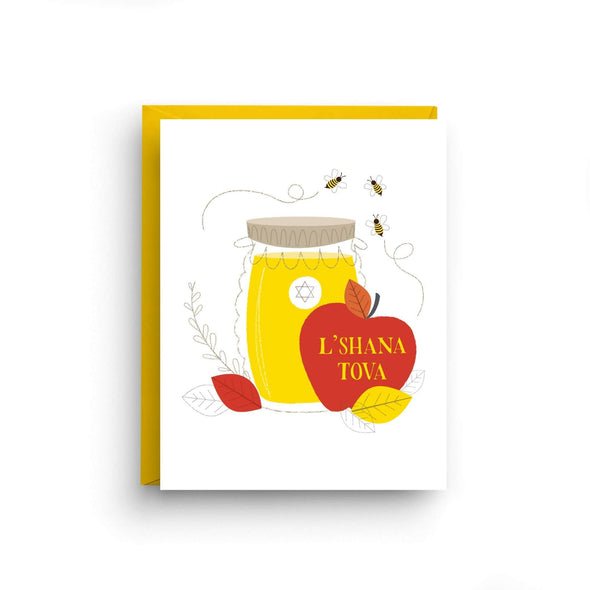 Nicole Marie Paperie Card L'Shana Tova Apple and Honey Greeting Cards, Box of 6