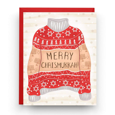 Nicole Marie Paperie Card Merry Chrismukkah Ugly Sweater Greeting Cards, Box of 6