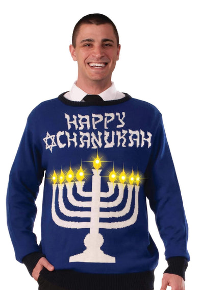 Men's Lite-Up Menorah Chanukah Sweater