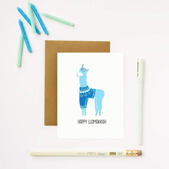 ilootpaperie Cards Happy Llamakkah Hanukkah Cards, Box of 5