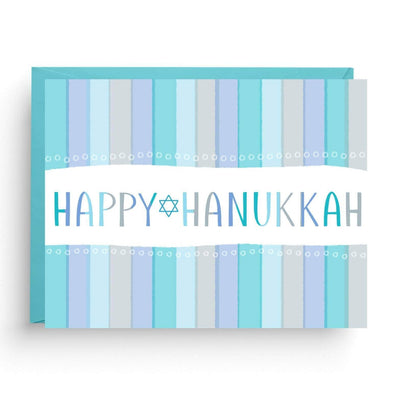 Nicole Marie Paperie Card Happy Hanukkah Striped Greeting Cards, Box of 6