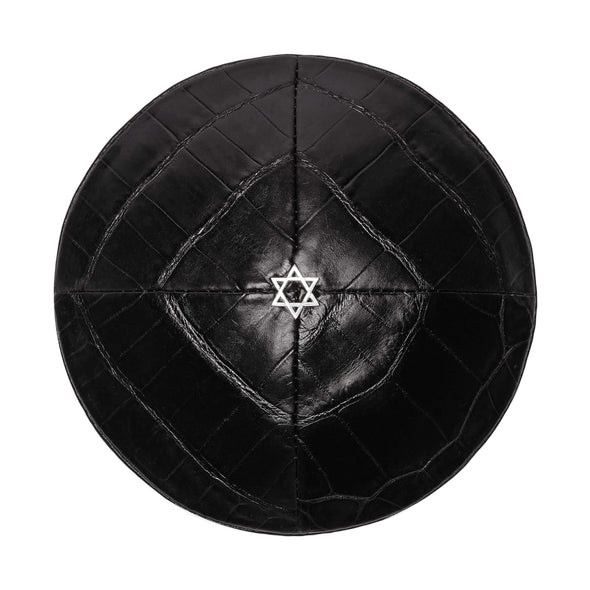 Black Croco Star of David Kippah