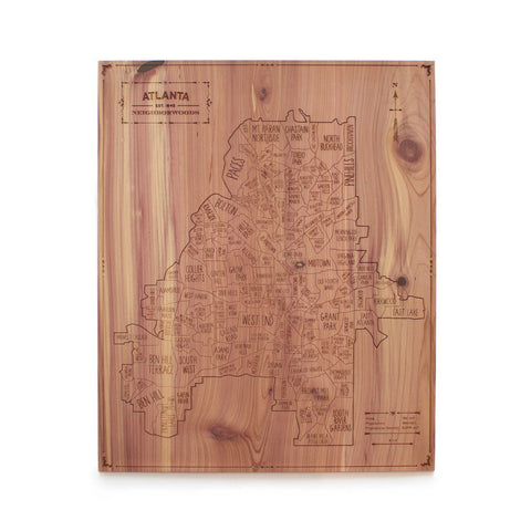 Atlanta Neighborhood Maps in Cedar Wood by Neighborwood - ModernTribe - 2