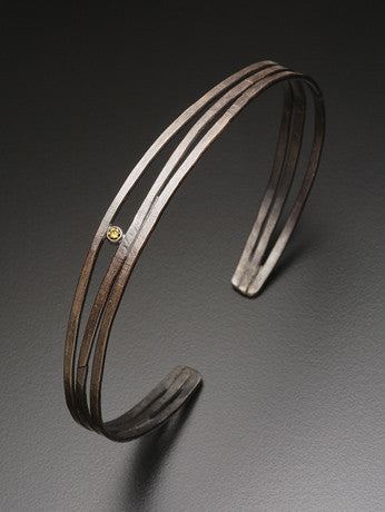 Uncommon Threads Bracelets Organic Oxidized Sterling Cuff Bracelet