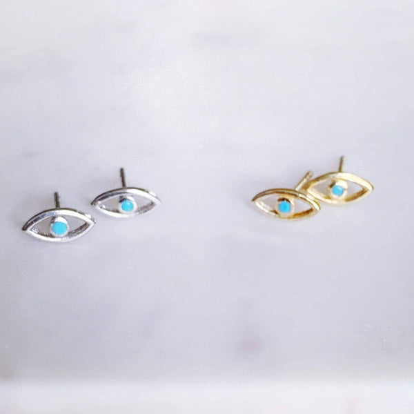 Stitch and Stone Earrings Evil Eye Stud Earrings with Sterling Stone - Gold or Silver