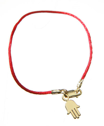 Red Cord Bendel Bracelet with Gold or Silver Hamsa - ModernTribe