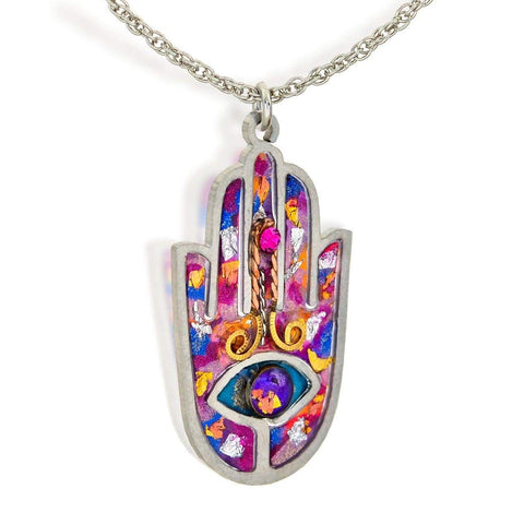 Seeka Handpainted Colorful Hamsa Necklace
