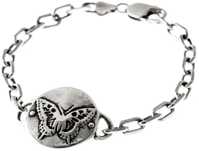 Sterling Silver Butterfly Medallion Heavy Link Bracelet by Marla Studio - ModernTribe