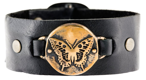 Butterfly Leather Cuff Bracelet in Bronze or Sterling SIlver by Marla Studio - ModernTribe