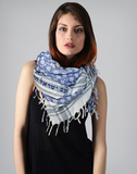 Semitic Keffiyeh Scarf in Blue - With Am Yisrael Chai by Shemspeed Records - ModernTribe - 2