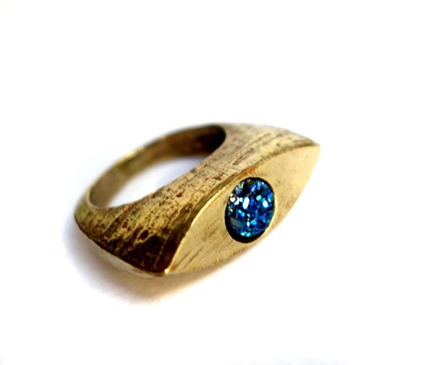 Rachel Pfeffer Rings Gold Evil Eye Brass Ring with Blue Drusy