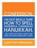 Happy Hanukkah Not Sure On Spelling Card by Ten Four Paper - ModernTribe - 1