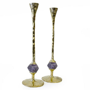 Gold Hammered and Amethyst Candlesticks