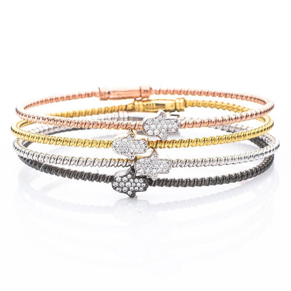 Alef Bet Bracelets Hamsa Stacking Cable Bracelets