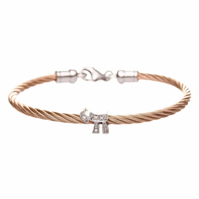 Chai Diamond Stacking Cable Bracelets - Rose Gold, Gold or Silver