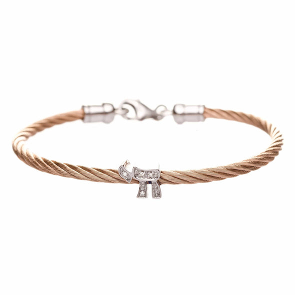 Chai Star of David Diamond Stacking Cable Bracelets - Rose Gold, Gold or Silver