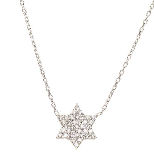 Aleph Bet Necklaces Silver Star of David Sparkling Necklace