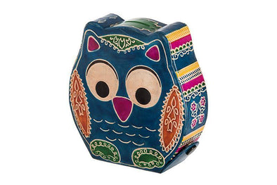 Tooled Leather Tzedakah Box - Owl
