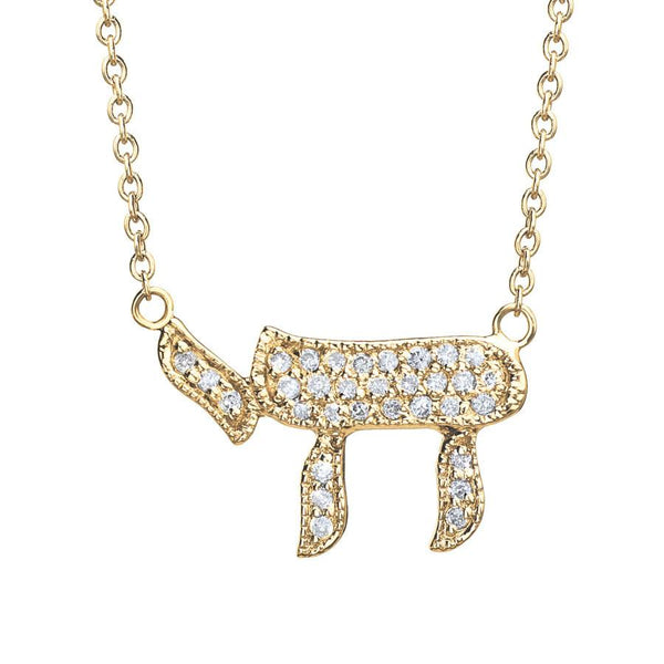 Binah Jewelry Necklaces Diamond Chai Necklace In Yellow Gold