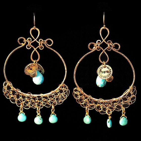 Gold Crocheted Earrings with Citrine & Turquoise - Prosperity & Abundance - ModernTribe