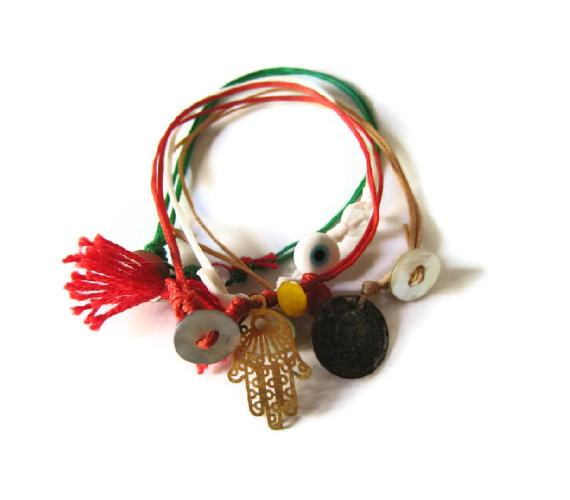 Maslinda Designs Bracelets Multicolored Cord Friendship Bracelets with Hamsa & Charms - Set of 3