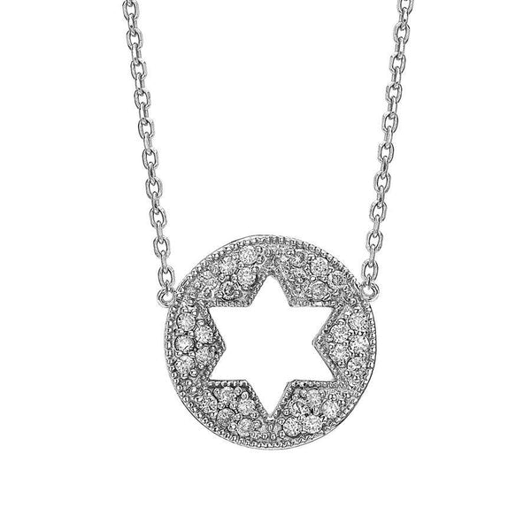 Binah Jewelry Necklaces Star of David Cutout Necklace in White Gold