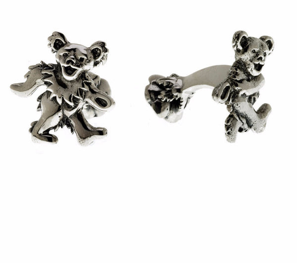 Cynthia Gale GeoArt Cufflinks Silver Sterling Silver Grateful Dead Dancing Bear Cufflinks